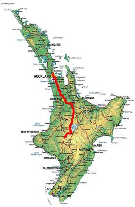 Map of route from Auckland to National Park