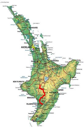 National Park to Palmerston North route map