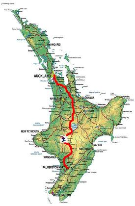Palmerston North to Turoa Route Map